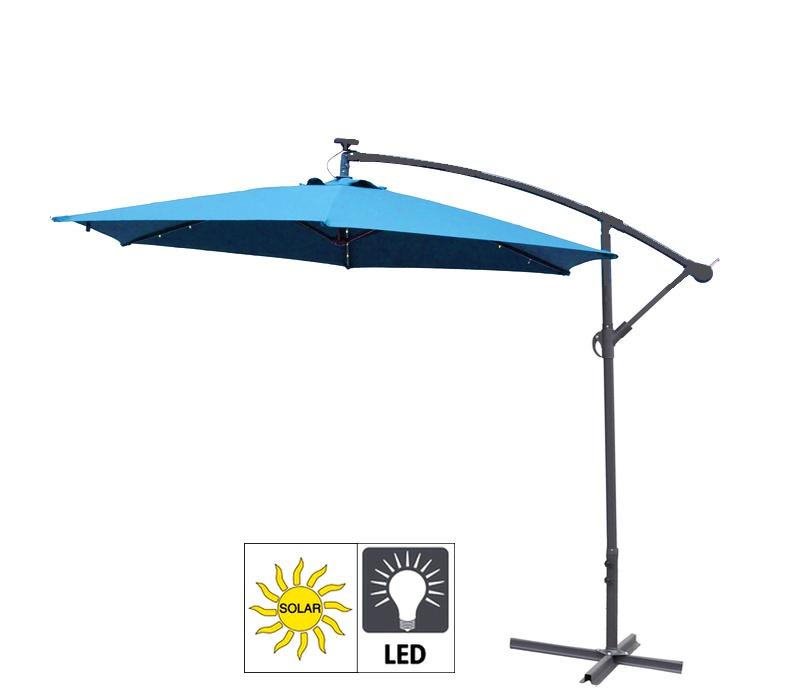 Aga Zahradní slunečník EXCLUSIV LED 300 cm Light Blue