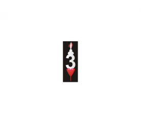 Dortová svíčka se srdíčkem číslice 3 - PREZENT - PREZENT