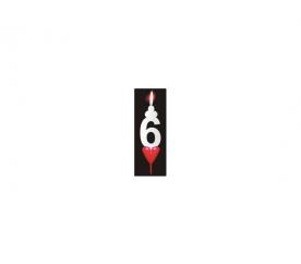 Dortová svíčka se srdíčkem číslice 6 - PREZENT - PREZENT