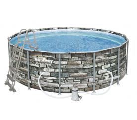Bestway Basen stelażowy Steel Power Stone 4,27 x 1,22 m 56993 + Pompa filtrująca + drabinka