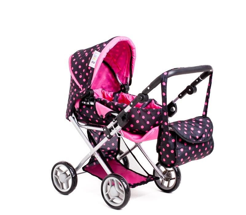 Doris Kočárek pro panenky 9333/C Black Pink
