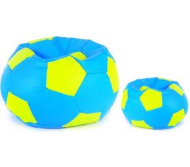 Aga Sedací pytel BALL XXXL Světle zelená - Světle modrá + podnožník