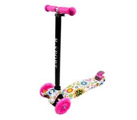 R-Sport Dětská třikolová koloběžka s LED kolečky H2 Pink