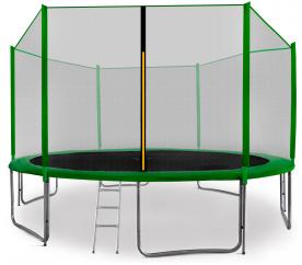 aGa SPORT PRO Trampolina ogrodowa 400cm 13ft z siatką zewnętrzną, drabinką i torbą na buty - Dark Green