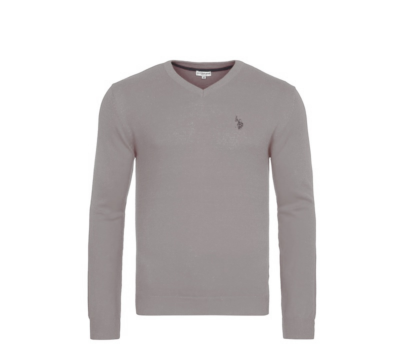 U.S. Polo ASSN. Svetr V-Neck Grey Melange