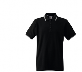Fruit Of The Loom Tričko TIPPED POLO Black White