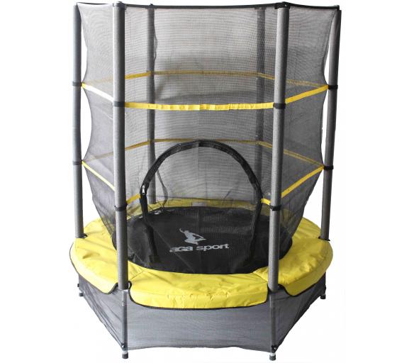 Aga Trampolina dziecięca do pokoju 140 cm Yellow + siatka ochronna