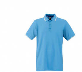Fruit Of The Loom Tričko TIPPED POLO Sky Blue White