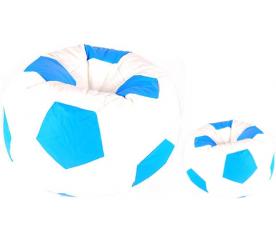 Aga Sedací pytel BALL XXXL Modrá - Bílá + podnožník