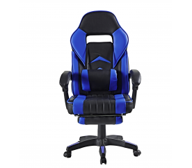 Aga Kancelářská židle Černo - Modrá s opěrkou pro nohy