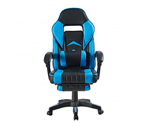 Aga Kancelářská židle Černo - Světle modrá s opěrkou pro nohy