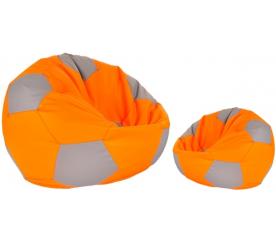 Aga Sedací vrece BALL Farba: Šedá - Oranžová + podnožník