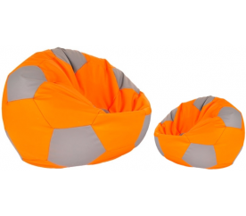 Aga Sedací pytel BALL XXXL Šedá - Oranžová + podnožník