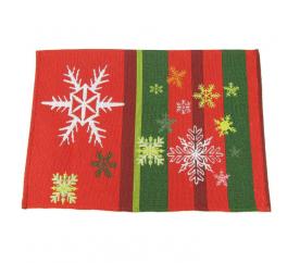 Vánoční prostírání červené s vločkami - Dakls/poslední kus - Dakls