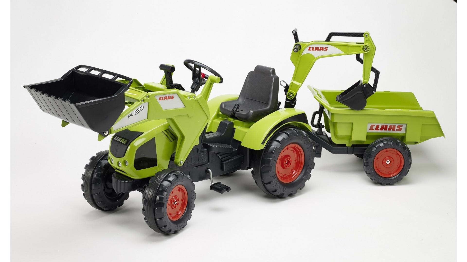 Falk Šlapací traktor CLAAS AXOS 330 WITH FRONT LOADER 1011Z s vlečkou