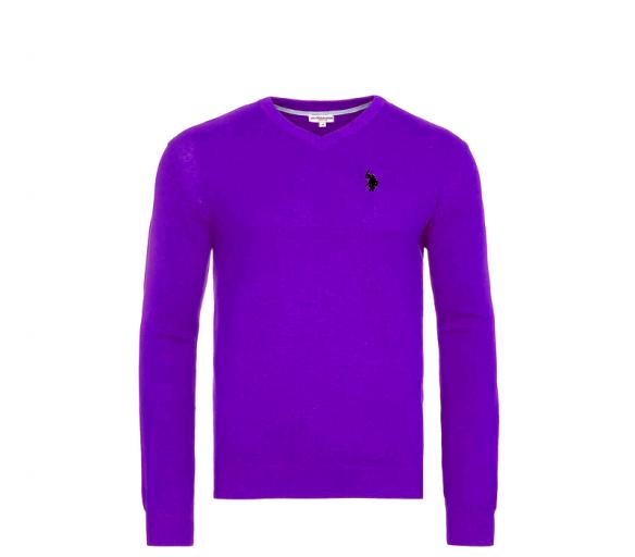 U.S. Polo ASSN. Svetr V-Neck Purple