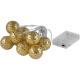 Linder Exclusiv LED osvetlenie 10 zlatých gulí Teplá biela