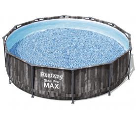 Bestway Basen stelażowy Steel Pro Max Wood 3,66 x 1 m 5614X + pompa filtrująca + drabinka