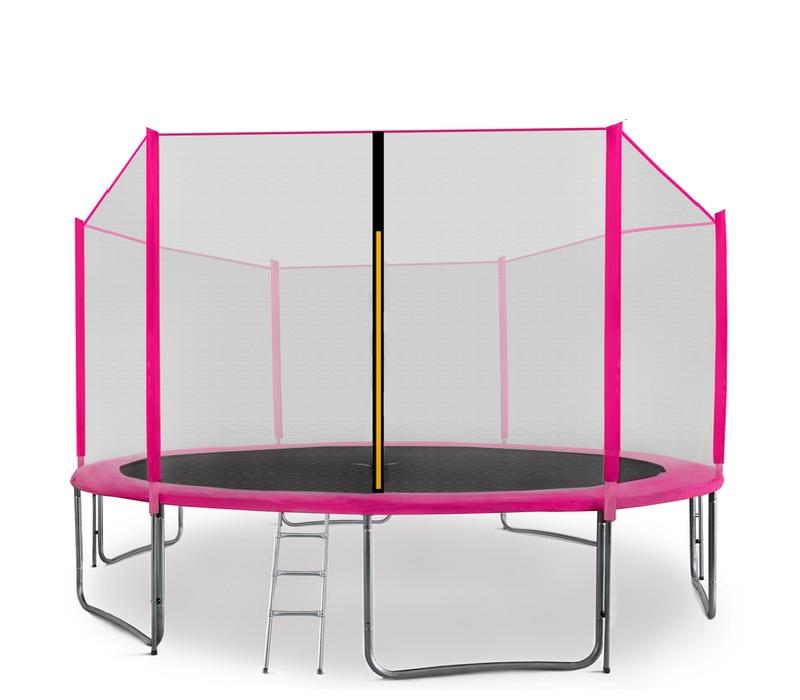 Aga SPORT PRO Trampolína 430 cm Pink + ochranná síť + žebřík + kapsa na obuv 2018