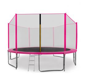 Aga SPORT PRO Trampolína 430 cm Pink + ochranná síť + žebřík + kapsa na obuv