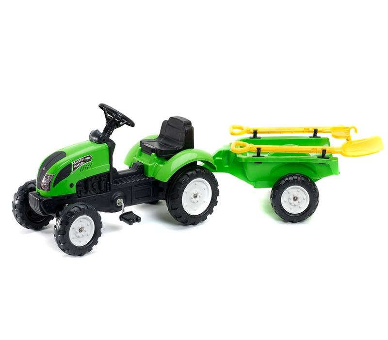 Falk Šlapací traktor GARDEN MASTER Green 2057G s vlečkou + nářadí