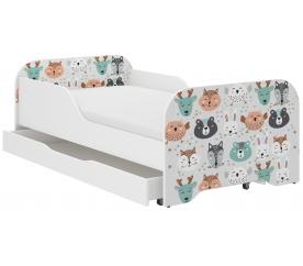 Wooden Toys Dětská postel Animals 140x70 cm