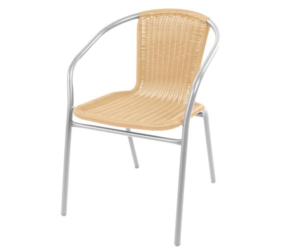 Linder Exclusive Krzesło ogrodowe rattanowe RATAN Silver/Beige