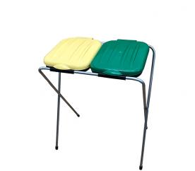 Aga Kosz stojak na worki do segregacji śmieci 2x120 l Żółty, Zielony