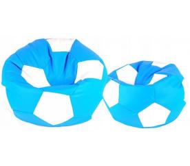 Aga Sedací pytel BALL XXXL Bílá - Světle Modrá + podnožník