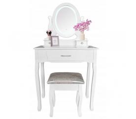 Chomik Toaletní stolek LED se zrcadlem + taburetem