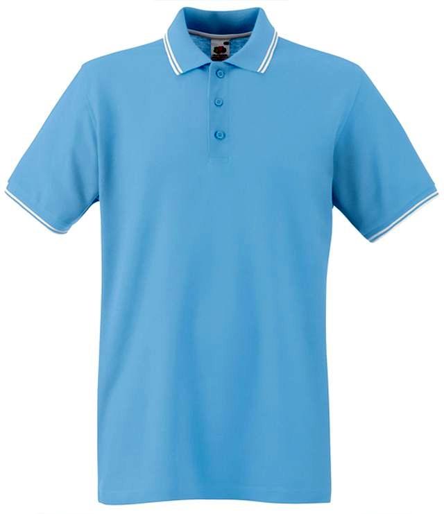 6104256a31 ... Fruit Of The Loom TIPPED POLO Sky Blue White galléros férfi póló. SXXLL