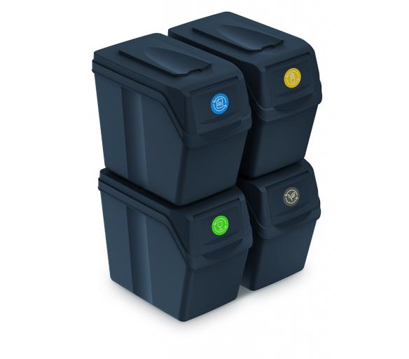Aga Odpadkové koše SORTIBOX 4x25l Černé