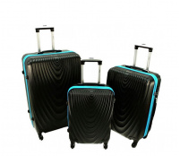 RGL Cestovní kufry HC663 XXL,XL,L Black / Zipper Blue