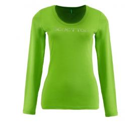 Benetton Dámské tričko s dlouhým rukávem s nápisem z velkých kamínků Světle zelená