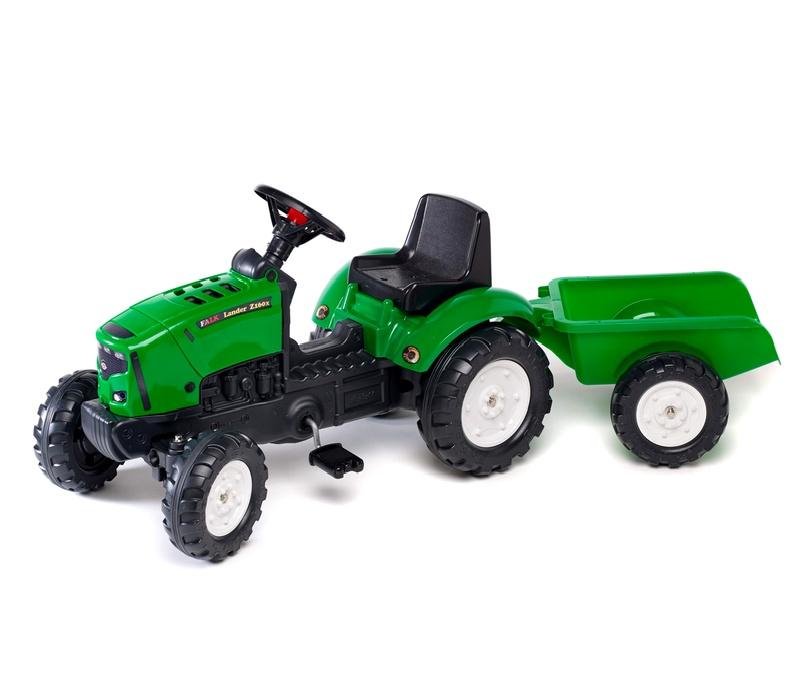 Falk Šlapací traktor LANDER Z160X Green 2031A s vlečkou