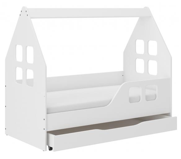 Wooden Toys Dětská postel HOUSE 140x70 cm se šuplíkem + matrací