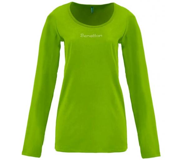 Benetton Dámské tričko s dlouhým rukávem s nápisem z malých kamínků Zelená
