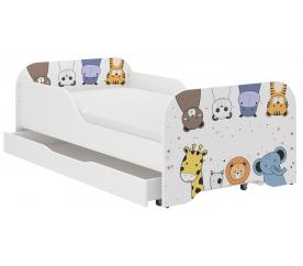 Wooden Toys Dziecięce łóżko Mini ZOO 140x70 cm