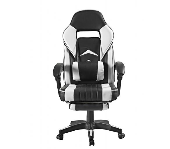 Aga Kancelářská židle Černo - Bílá s opěrkou pro nohy