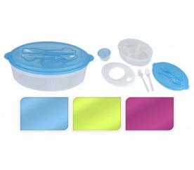 Svačinový box s chladící vložkou sada 2ks, oválná, modrá - ProGarden