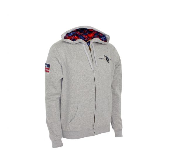 U.S. Polo ASSN. Mikina s kapucí Grey Melange
