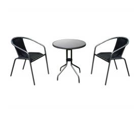 Aga Zestaw Mebli Ogrodowych Stolik + 2 Krzesła TERRACE SET RATTAN - Antracit