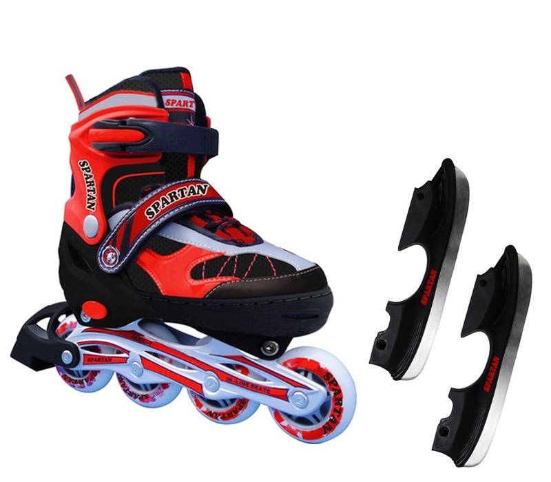 Spartan Zimné korčule 2v1 KOMBI Red Black