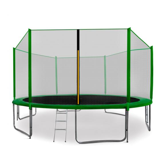 Aga SPORT PRO Trampolína 400 cm Dark Green + ochranná sieť + schodíky + vrecko na obuv