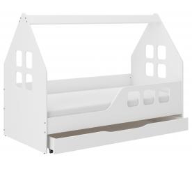 Wooden Toys Dětská postel HOUSE 160x80 cm se šuplíkem + matrací