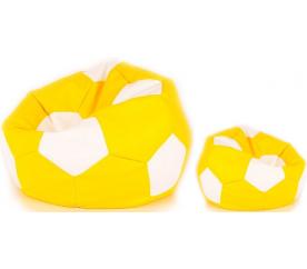Aga Sedací pytel BALL XXXL  Bílá - Žlutá + podnožník