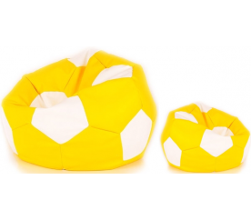 Aga Sedací vak BALL Farba: Biela - Žltá + podnožník