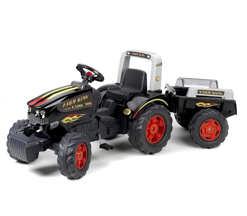 Falk Šlapací traktor FARM KING 1075B s vlečkou