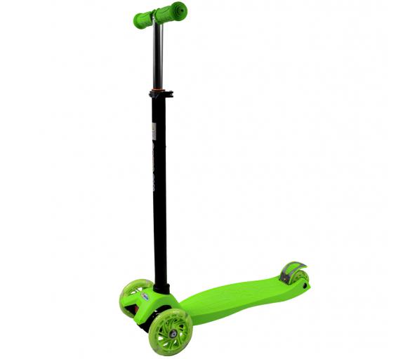 Bobo-San Dětská třikolová koloběžka s LED kolečky Green