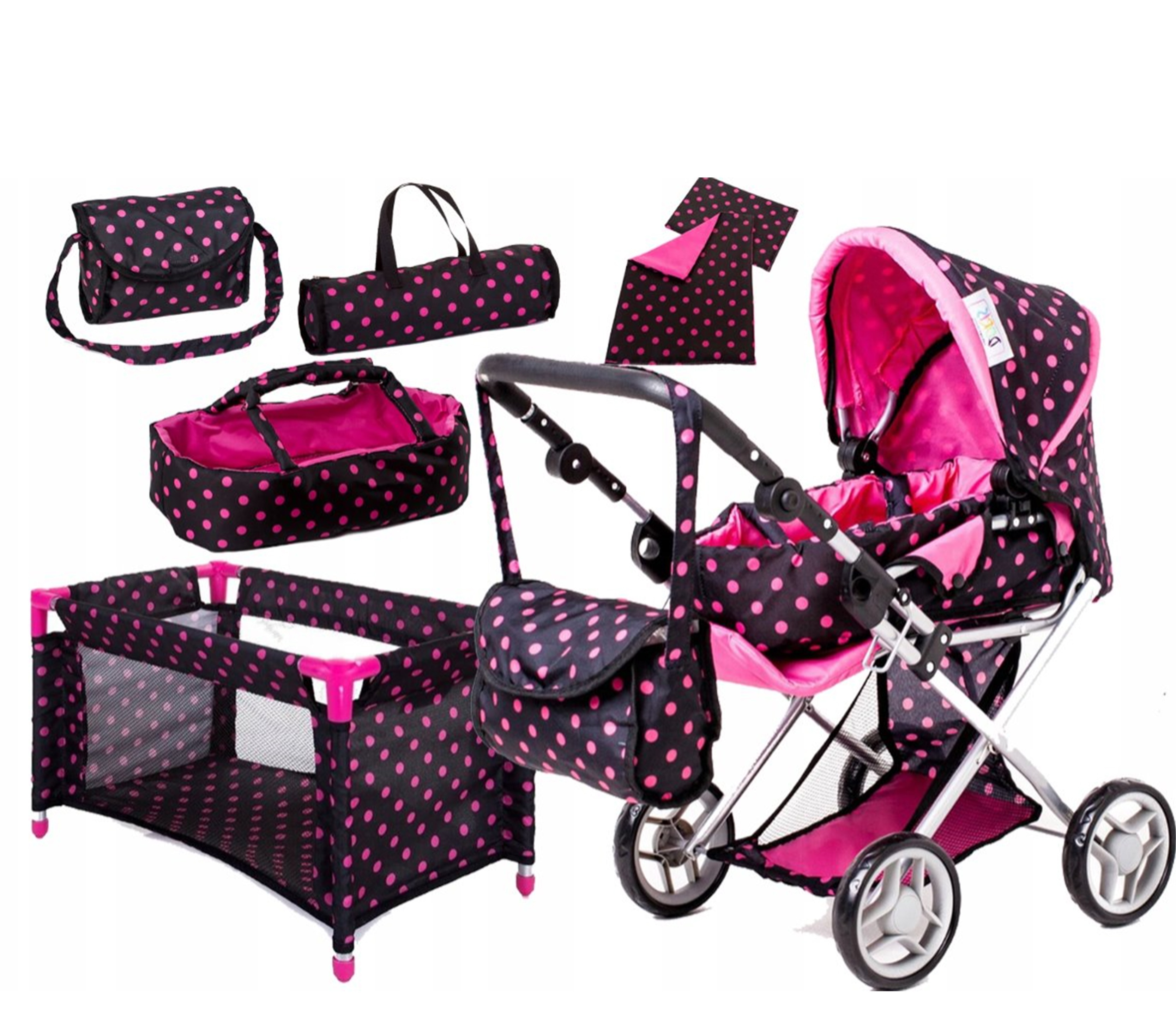 Doris Kočárek pro panenky set 5v1 Hot Pink 1